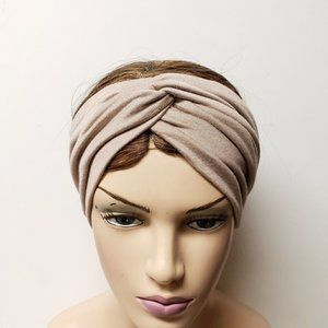 Wide Tan Jersy Knit Turban Headband, Cute Headwrap